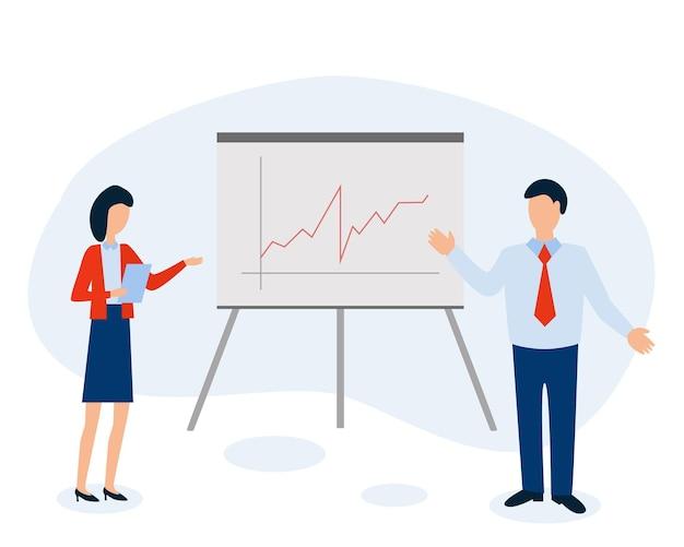 데이터 분석 및 통계 개념입니다. 사업 보고서. 사람들은 칠판에 서 있습니다.