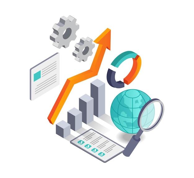 Анализ данных и поиск мировой информации Premium векторы