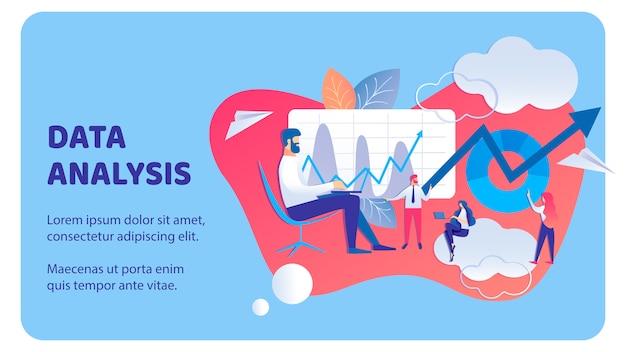 Data analysis business flat banner vector template