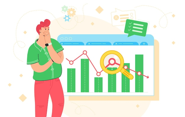 Data analysis, business research and report. flat vector illustration of doubted man standing near financial graph and analysing the chart. redhead character for market trends tracking and infographic