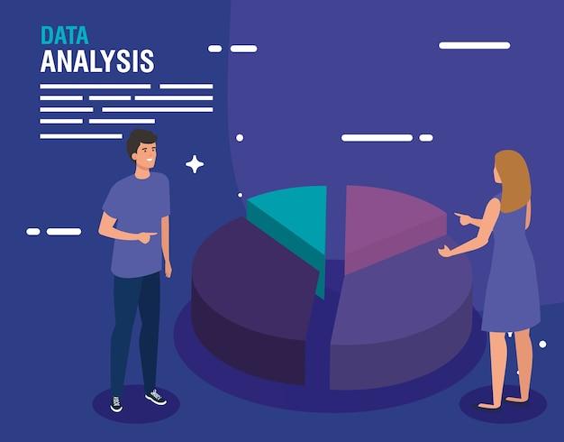 データ分析ケーキチャート女性と男性のデザイン、情報テーマ