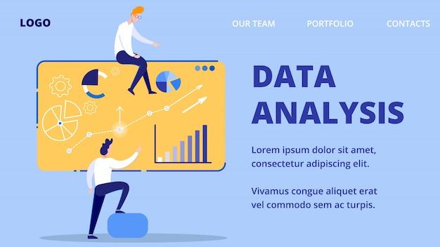 Data analysis, characters lead presentation web.