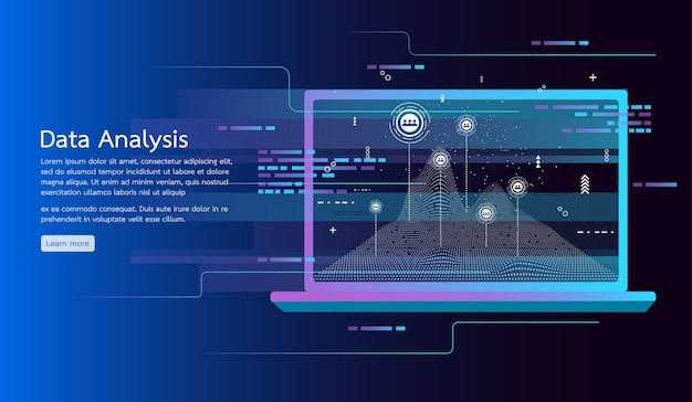 Data analysis concept banner. research