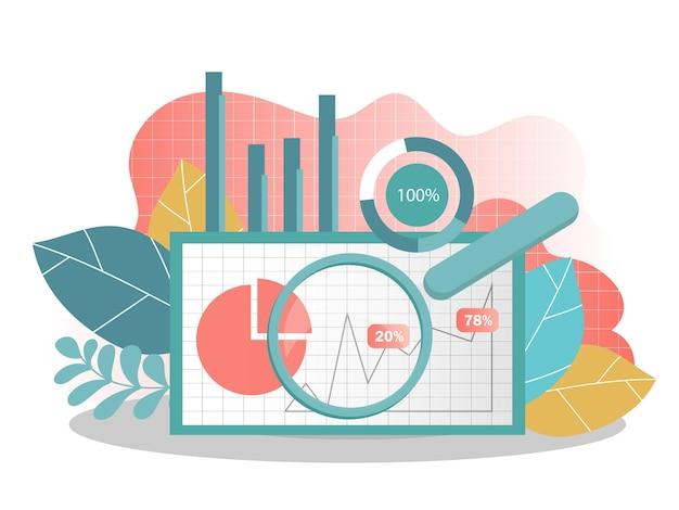 Концепция анализа данных. можно использовать для веб-баннера, инфографики. творческие векторные иллюстрации для баннера, плаката, веб-сайта в современных цветах