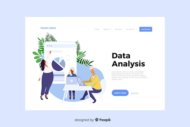 Data analysis concept for landing page