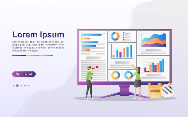 데이터 분석 개념. 사람들은 차트 이동 및 비즈니스 개발을 분석합니다. 데이터 관리, 감사 및보고 웹 방문 페이지, 배너, 전단지, 모바일 앱에 사용할 수 있습니다. 프리미엄 벡터