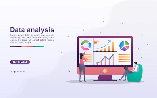 Концепция анализа данных. люди анализируют движение графиков и развитие бизнеса. управление данными, аудит и отчетность.