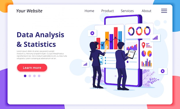 Data analysis concept, people work in front of a big mobile phone. website landing page template