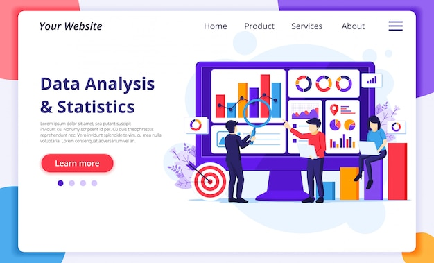Data analysis concept, people work in front of a big screen. auditing and analyzing. website landing page template