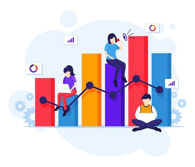 Концепция анализа данных, люди работают возле большой диаграммы