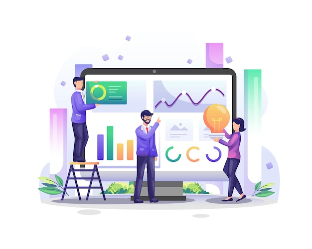 Концепция анализа данных с персонажами людей на экране компьютера анализирует диаграммы и иллюстрации визуализации графических данных