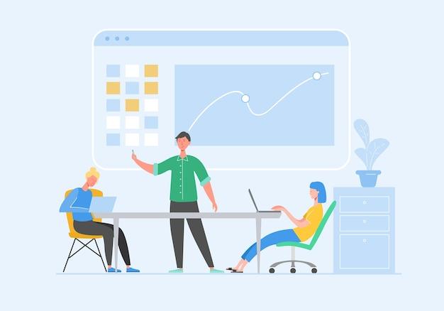 文字のデータ分析の概念。ビジネス会議のチームワークの概念。ラップトップを持つ男と女。ブレーンストーミング、ディスカッションのアイデアを伝える同僚。フラット漫画イラスト