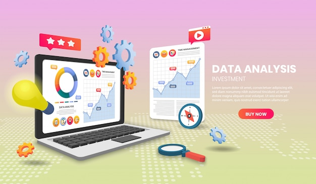 Data analysis concept with laptop. 3d vector illustration.