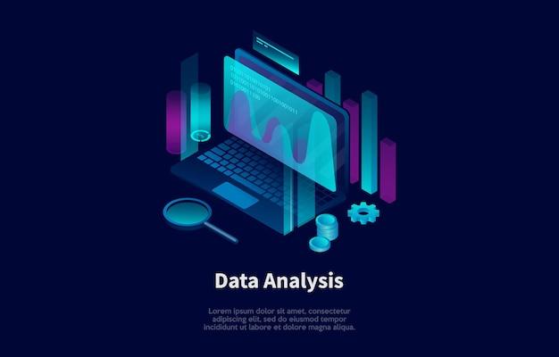 漫画の3dスタイルのデータ分析概念図。