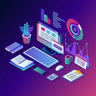 Анализ данных. цифровая финансовая отчетность, seo, маркетинг. управление бизнесом, развитие. 3d изометрические ноутбук, компьютер, пк с графиком, диаграммой, статистикой. дизайн для сайта