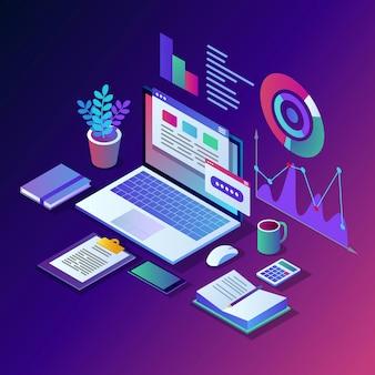 Анализ данных. цифровая финансовая отчетность, seo, маркетинг. управление бизнесом, развитие. изометрические ноутбук, компьютер, пк с графиком, диаграммой, статистикой. для сайта