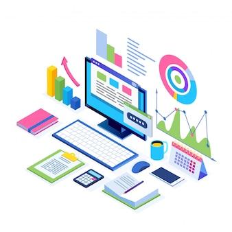 데이터 분석. 디지털 재무보고, 현서, 마케팅. 사업 관리, 개발. 아이소 메트릭 노트북, 컴퓨터, 그래프, 차트, 통계가있는 pc. 웹 사이트