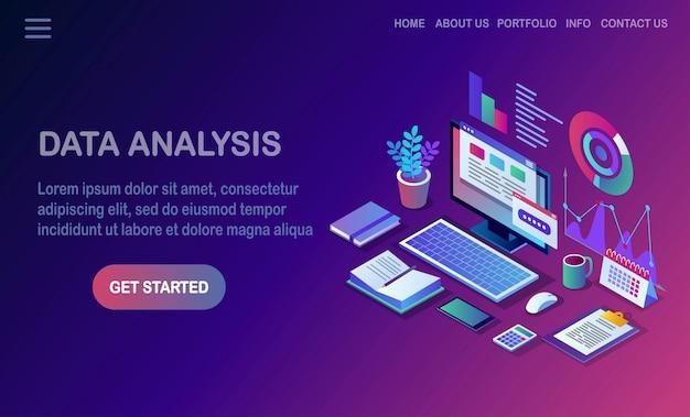 データ解析。デジタル財務報告、seo、マーケティング。経営管理、開発。等尺性のラップトップ、コンピューター、グラフ、チャート、統計を備えたpc。ウェブサイト用