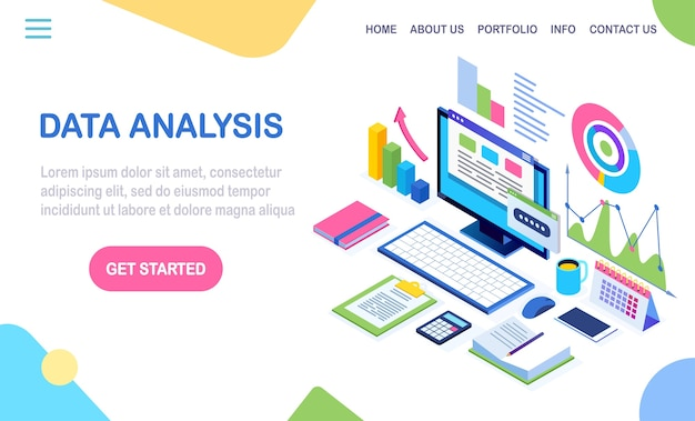 Data analysis. digital financial reporting, seo, marketing. business management, development.  isometric laptop, computer, pc with graph, chart, statistic.   for website