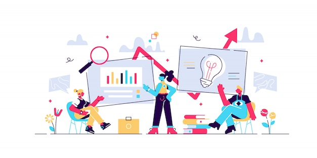 데이터 분석 교육, 경제 문해력 인터넷 과정. 비즈니스 워크 플로, 비즈니스 프로세스 효율성, 작업 활동 패턴 개념. 고립 된 개념 창조적 인 그림