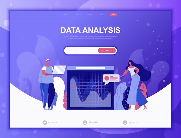 Data analysis flat concept, landing page web template