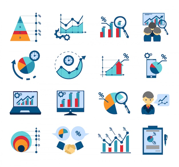 Data analysis flat icons collection