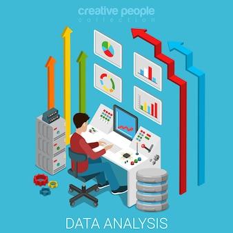 データ分析フラットアイソメトリックマーケティングビジネステクノロジー