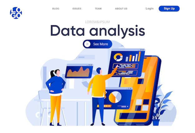 Data analysis flat landing page. people using mobile application with business analytics on screen illustration. online financial data analysis web page composition with people characters.