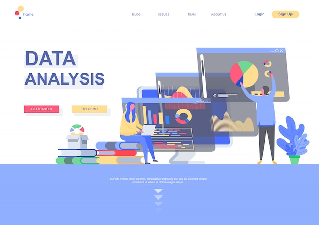Data analysis flat landing page template. business infographics, analyst doing marketing research situation. web page with people characters. financial and investment analytics illustration.