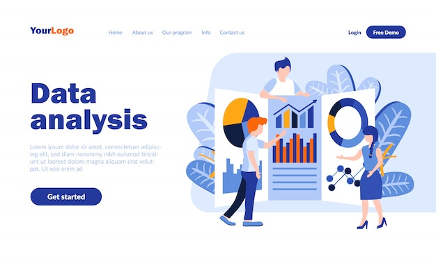 Data analysis flat landing page  with header
