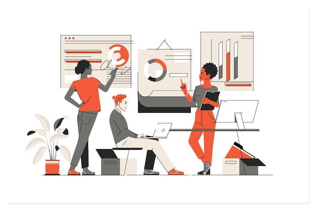 ビジネスファイナンス投資イラストのデータ分析 Premiumベクター