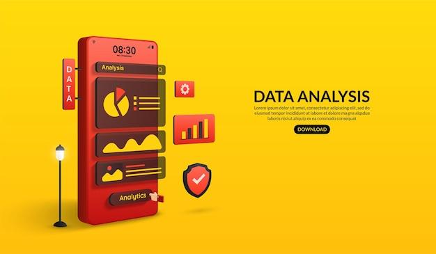 ウェブサイトとモバイルアプリケーションのデータ分析スマートフォンの概念によるデータの視覚化