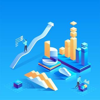 웹 사이트 및 모바일 웹 사이트에 대한 데이터 분석. 편집 및 사용자 정의가 쉽습니다. 현대적인 디자인 아이소 메트릭 개념 그림