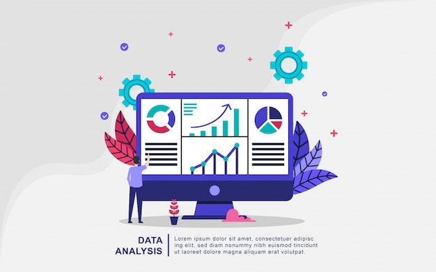 Data analysis illustration concept with tiny people