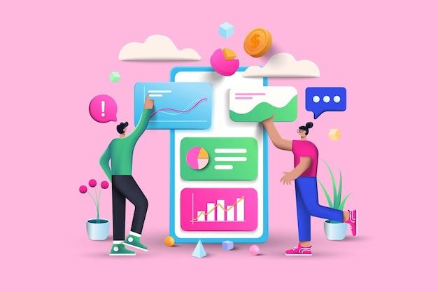Data analysis illustration on pink background