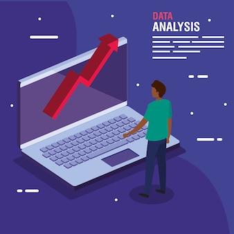 노트북 및 사람 디자인, 정보 테마에 대한 데이터 분석 증가 화살표