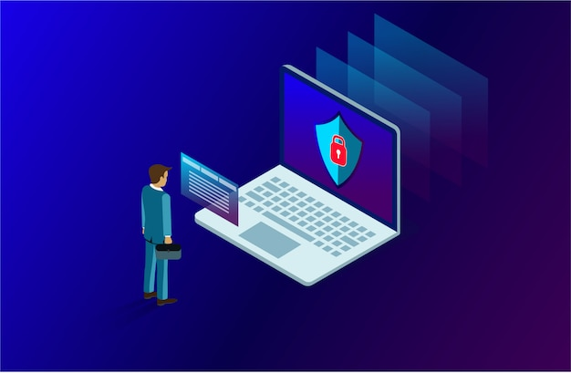Data analysis and investment concept with businessman stood in front of a computer with high security.