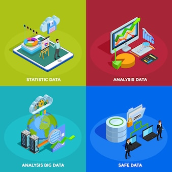 Data analysis isometric icons square