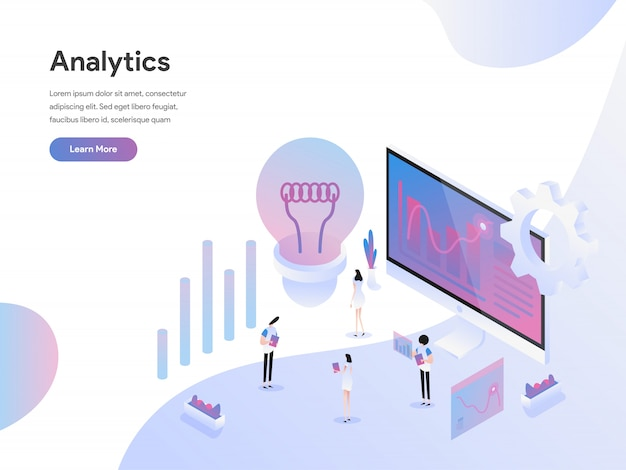 Data analysis isometric illustration concept