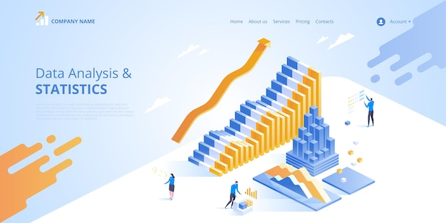 Data analysis.  isometric illustration for landing page.