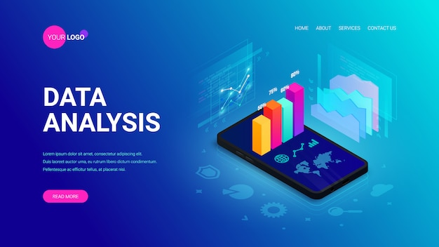 Data analysis isometric landing page concept. 3d graph data on smartphone screen, statistics report, icons on blue.  illustration for mobile app, website template, seo, marketing infographic