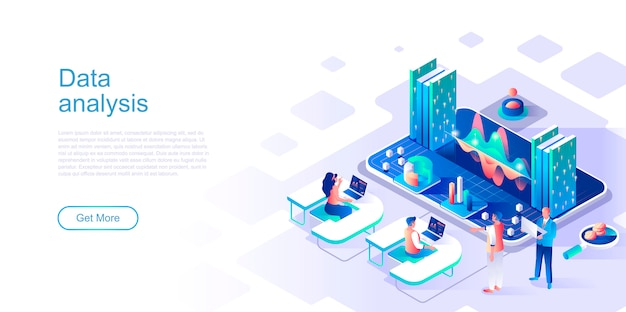 Data analysis isometric landing page vector template.