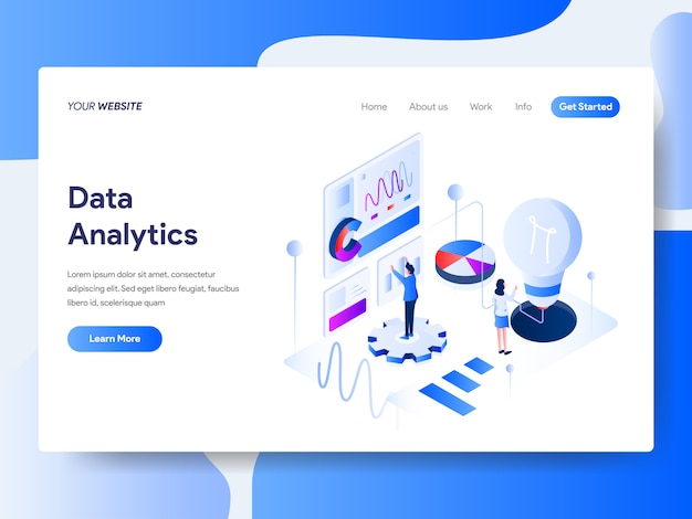 Data analysis isometric for website page