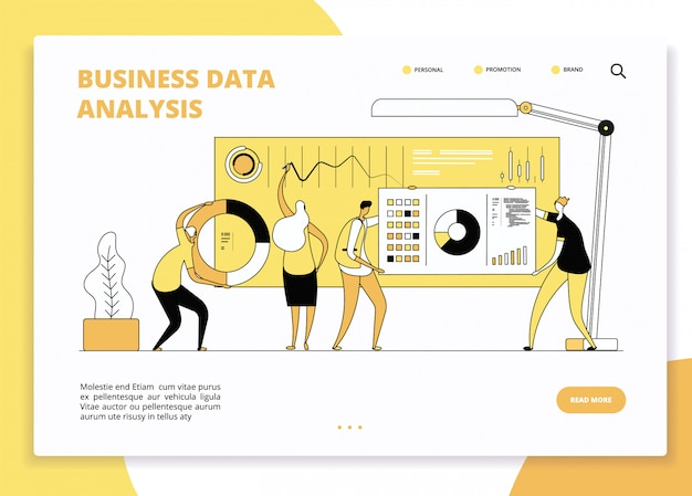 データ分析のランディングページ。統計グラフのダッシュボードで作業するデジタルマーケティングアナリスト。ビジネスマーケティングのウェブサイトのベクターデザイン