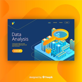 Data analysis landing page in isometric style