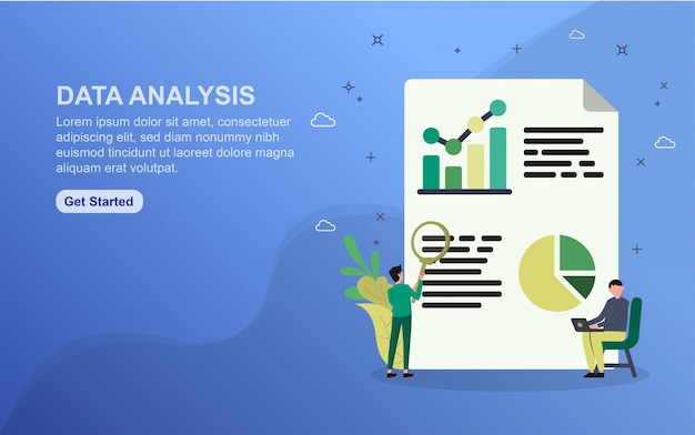 Data analysis landing page template. flat design concept of web page design for website.