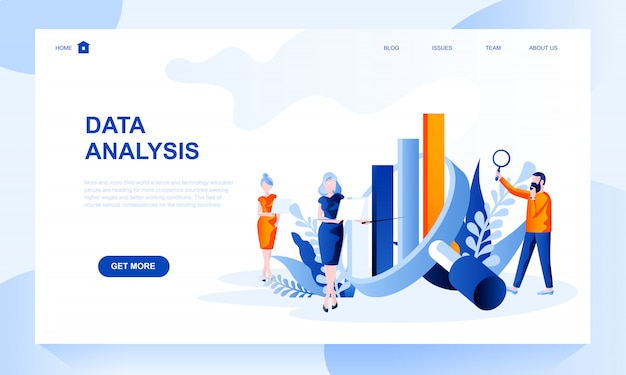 Data analysis landing page template with header