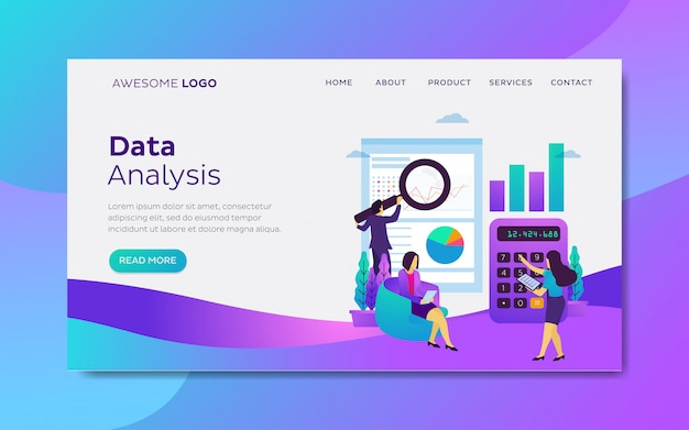 Data analysis landing page template