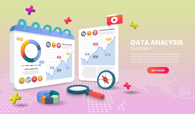 Data analysis landing page templates app page.for web banner, infographics, hero images. hero image for website.