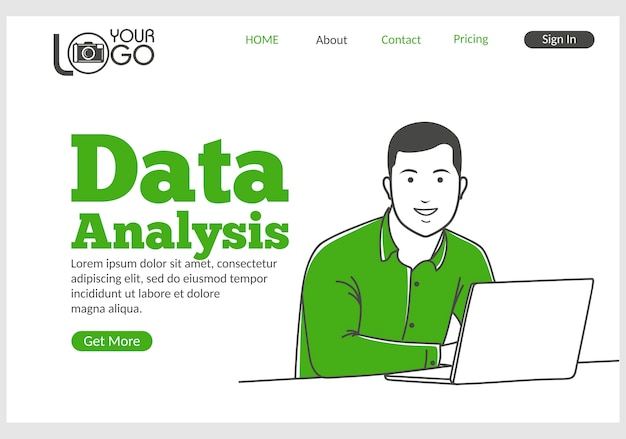 Data analysis landing page in thin line style.